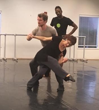 Diablo Ballet dancersOliver-Paul Adams and Jamar Goodman working with choreographer Sonya Delwaide